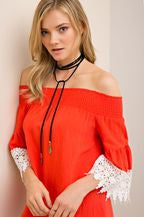 Off Shoulder Lace Sunkist Shirt