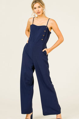 Navy Button Jumpsuit