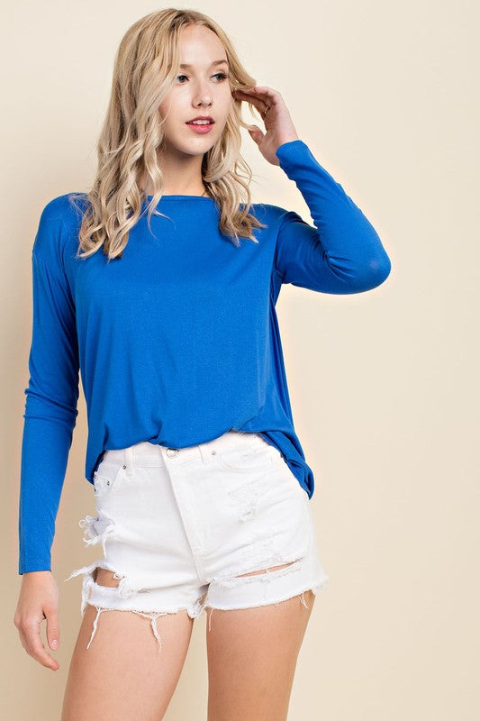 Renae Royal Blue Open Back Shirt