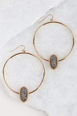 GN Druzy Hoop Earrings