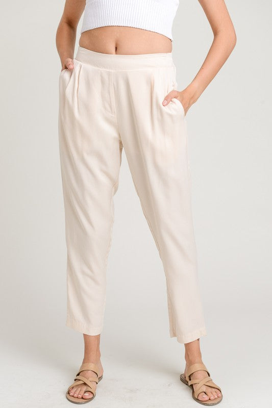 Ivory Pleated Pants