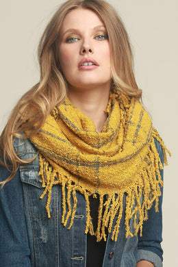 Mustard and Grey Infinity Scarf
