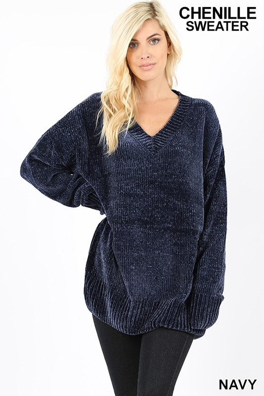 Viola Round Neck Chenille Sweater