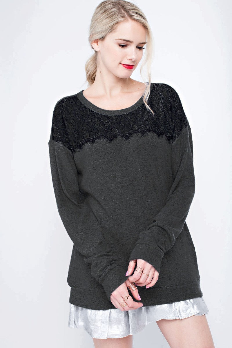 Black on black lace detail shirt