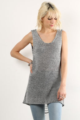 Niki Frayed Sleeveless Sweater