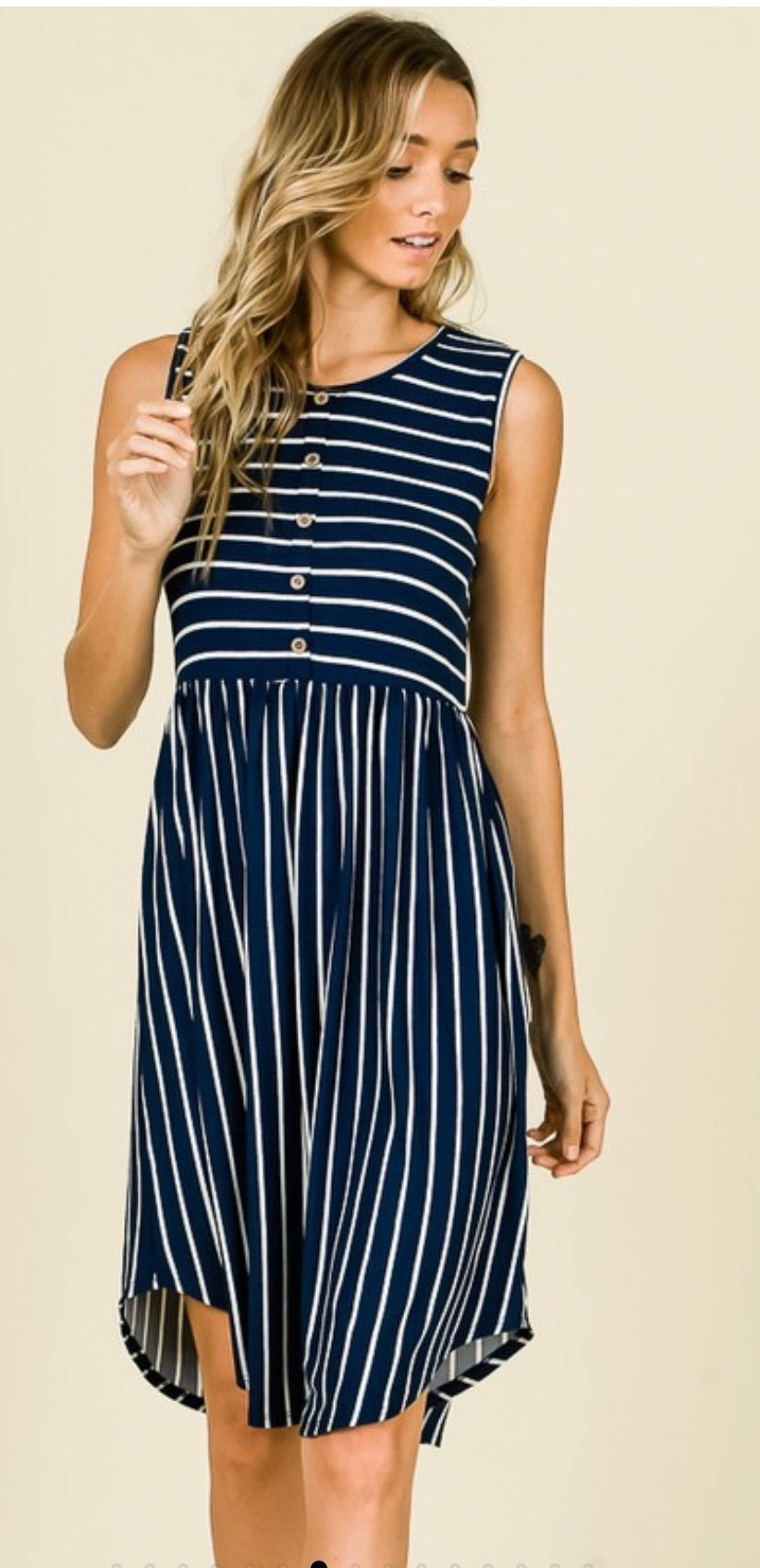 Danielle Sleeveless Stripe Dress