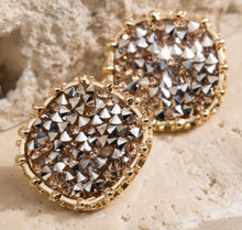 Round Glitter Stone Earrings