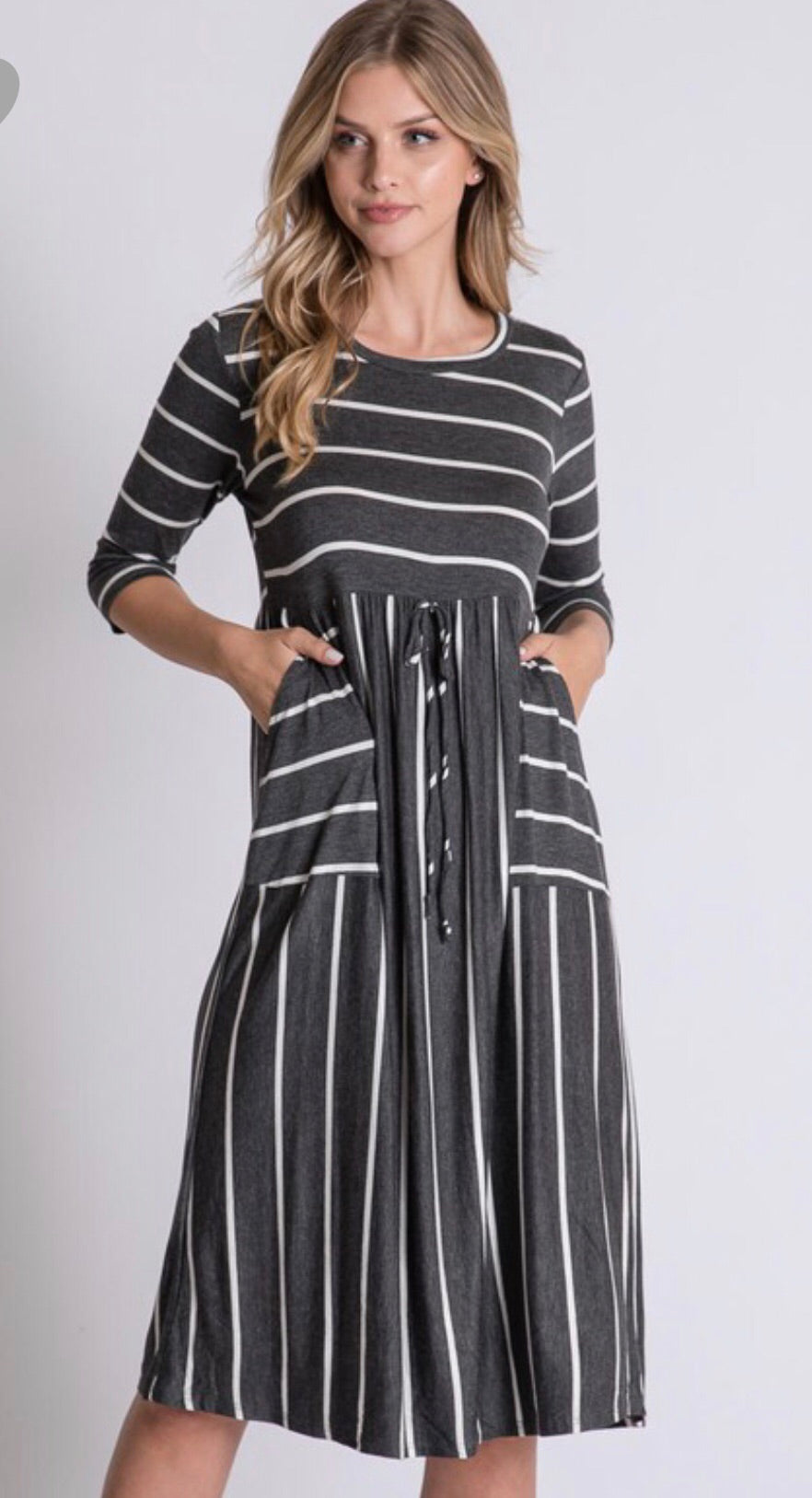 Destiny Charcoal Striped Dress
