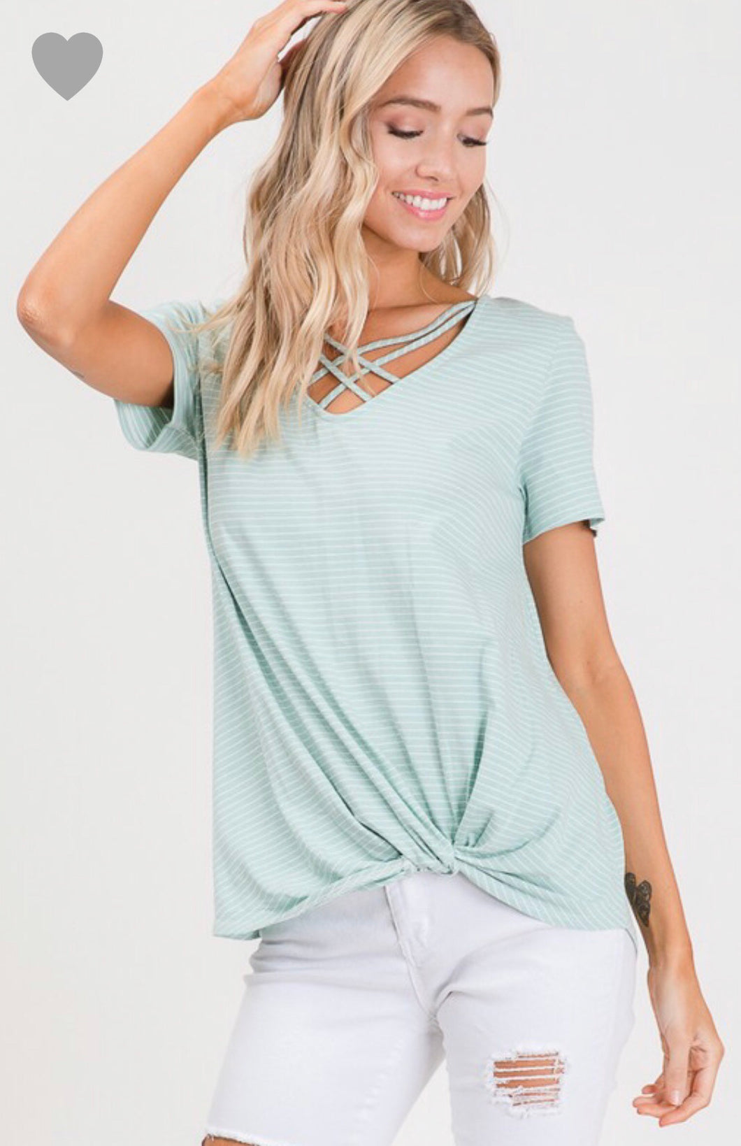 Julie Mint/Ivory Striped Top