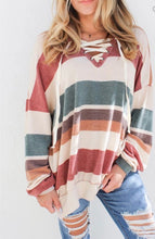 Mallory Striped Criss Cross Top