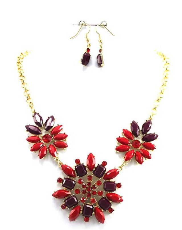 Red Necklace & Earring Set