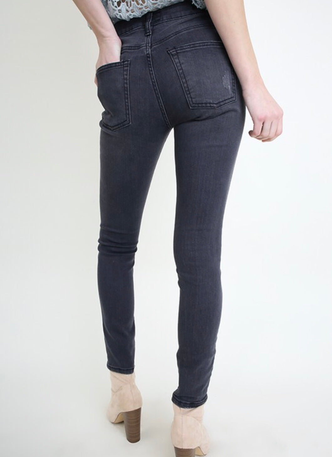 Distressed Dark Grey Jeans