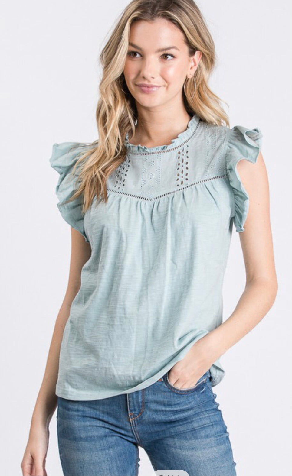Layla Ruffled Embroidered Sleeve