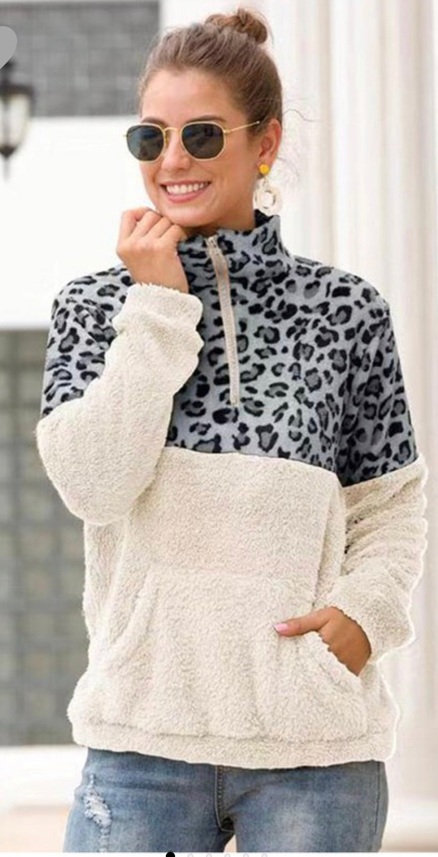 Leopard Print Fuzzy Pullover