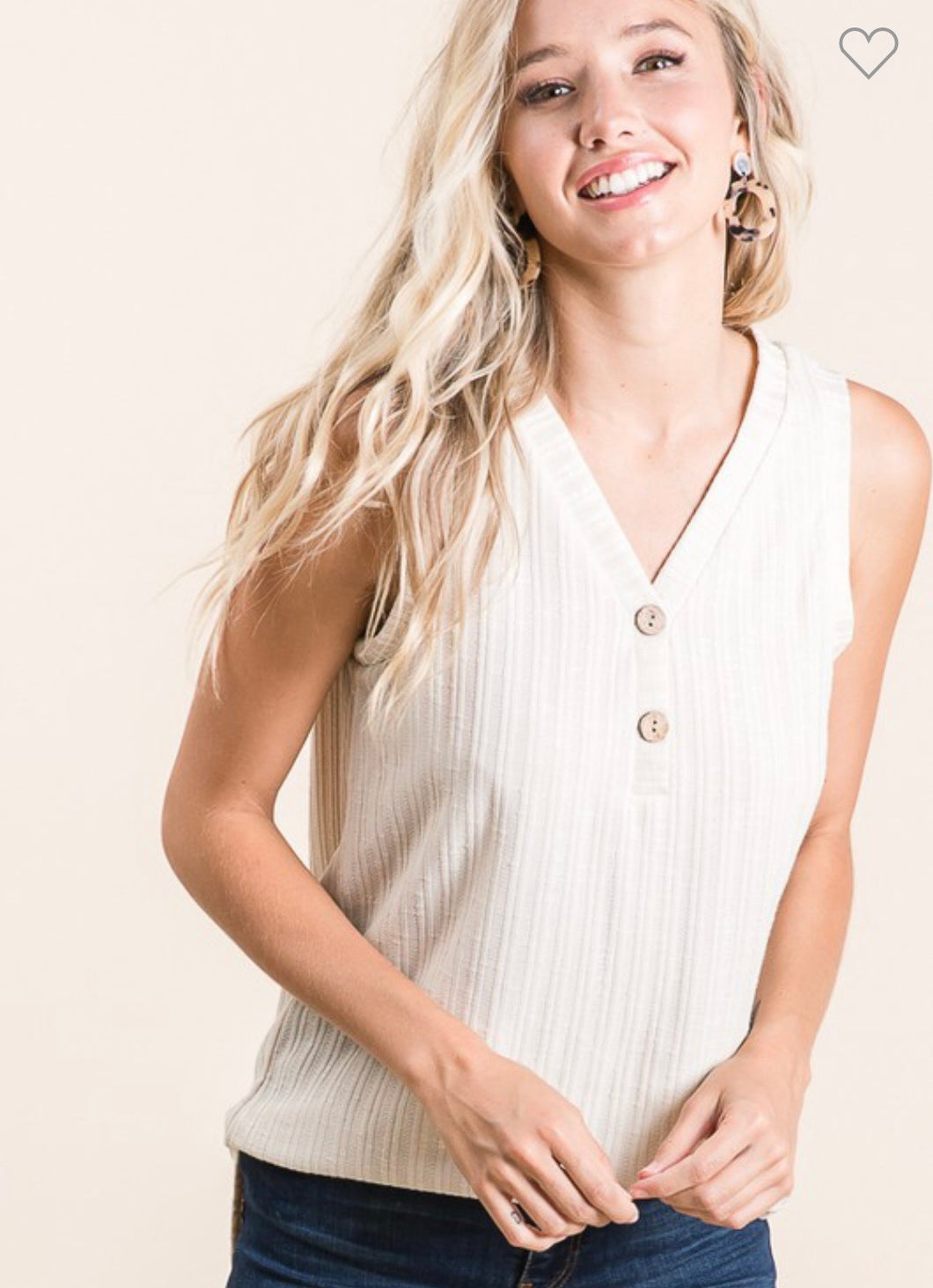 Julia Faux Button Tank