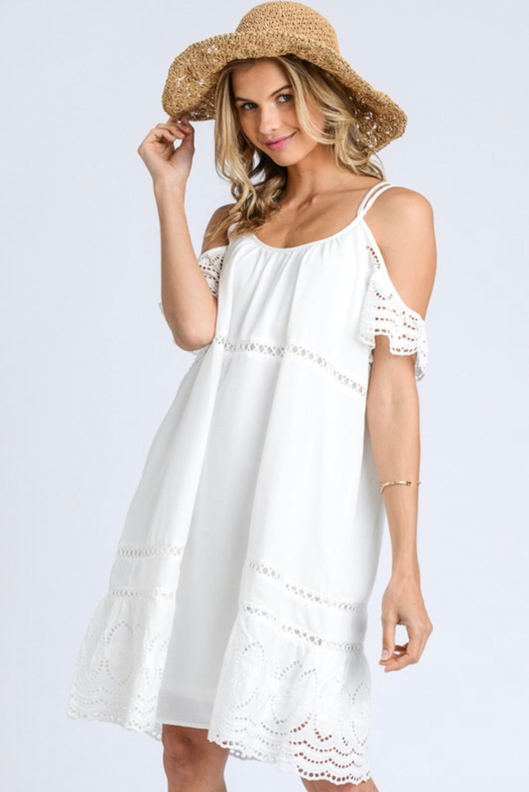 Rae White Eyelet Dress