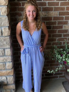 Denim Blue Stripe Jumpsuit
