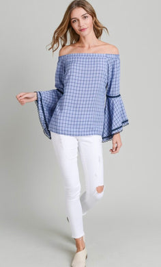 Lauren Plaid Off Shoulder Top