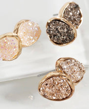 Oval Druzy Stud Earrings