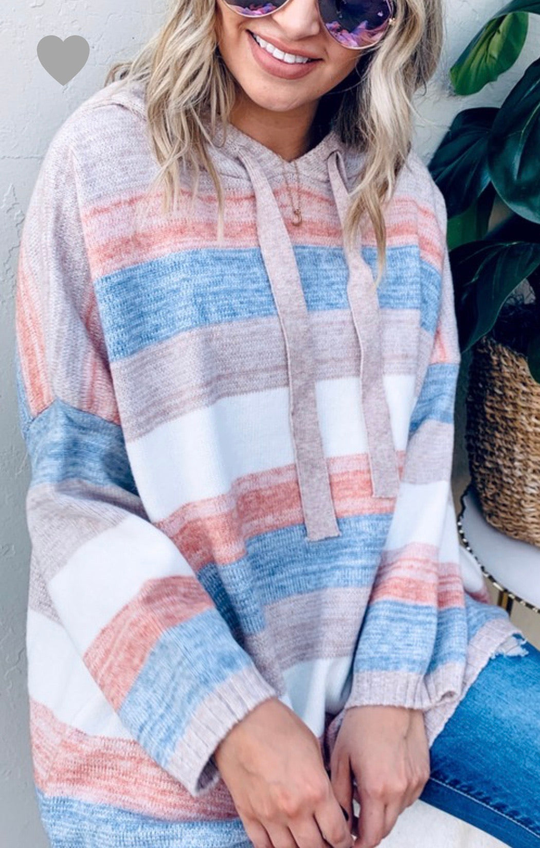 Audrey Striped Hoodie Sweater