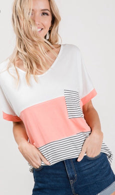 Kari Color Block Pocket Top