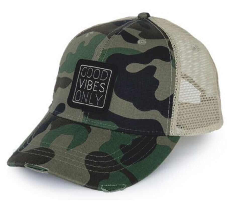 Good Vibes Distressed Trucker Hat