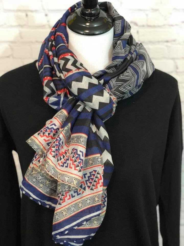 Navy Tribal Print Scarf