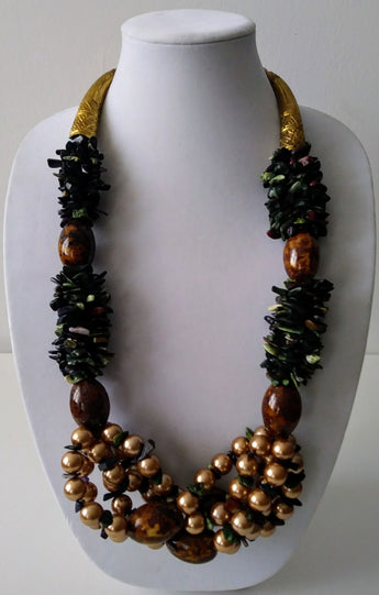McKenzie Agate chip w agate and beads Necklace- Vedazzling  Accessories