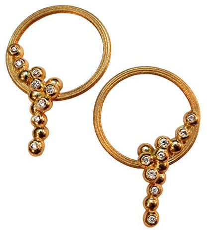 Karma Sideways Hoop Earrings, Overflowing Diamonds in Sterling Silver. Also here in 18K Gold with Diamonds, 14K Gold with Diamonds or Custom Made. Jane Gordon Jewelry, Jane A Gordon
