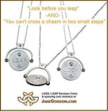 Decision Coin &/or Spinning Coin Necklace: Changeable Coins. Sterling Silver with Diamonds. Look/Leap, Work Out/Pig Out, His Way/Her Way, Be Naughty/Be Nice. Jane Gordon Jewelry, Jane A Gordon