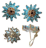 Blue Topaz & Citrine Silver Daisy Ring-Daisies in Gold & Sterling-Earrings-Ring-Necklace-Bracelet-Pearl Enhancer. Any Gemstone; Amethyst-Garnet-Ruby-Diamond-Emerald-Sapphire-Peridot-Quartz-Etc