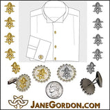 Fleur de Lis Tuxedo Shirt Studs-Diamonds in 18K Gold, 14K, Sterling Silver. Customization OK- Cuff Link-Lapel Pin-Tie Tack-Men's Gift. Symbol for Power, Enlightenment & Good Luck. We need that!