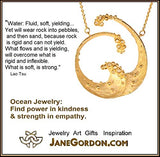 Ocean Wave Jewelry: 2 size Necklaces, 3 sizes Earrings. 18K Gold, 14K Gold or Sterling Silver with Diamonds. Inspirational Jewelry, Sea Life Tropical Beach, Surf's Up! Tao Te Ching, Lao Tzu