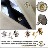 Fleur de Lis Lapel Pin or Tie Tac-Diamonds in 18K Gold, 14K, or Sterling Silver. Customization Available. Great Men's Gift. Unisex. Ancient Symbol for Power, Enlightenment & Good Luck. We need that!