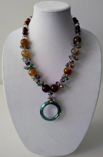 Mckenzie Agate with Crystals  Necklace- Vedazzling Accessories