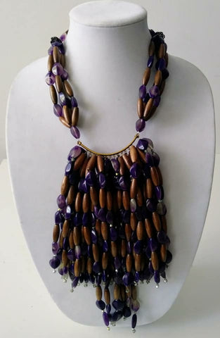 Mckenzie bead with wood beads necklace-Vedazzling Accessories