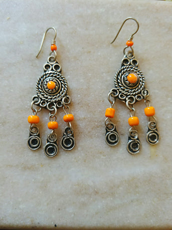 Mini Highly Orange Moroccan Earrings - Vedazzling Accessories
