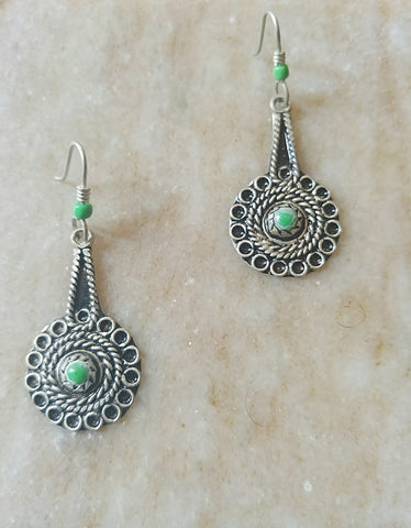 Circle Nv Green Earrings - Vedazzling Accessories