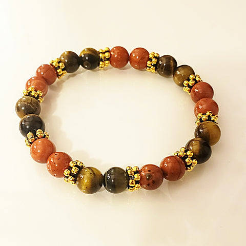 Niki Yellow Tigers Eye and Red Jasper