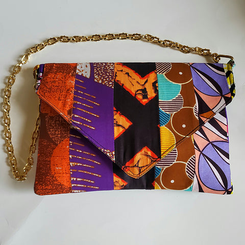 Purple Ankara Swirl Clutch