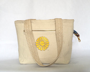 The Nantucket Mid-Sized Tote Natural with Yellow-HBBK