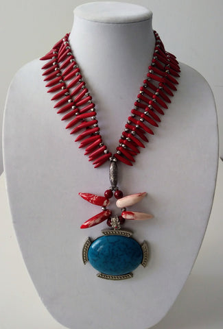 McKenzie Red Turquoise Necklace