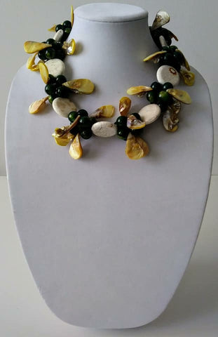 Mckenzie white turquoise w akoya pearls Necklace- Vedazzling Accessories