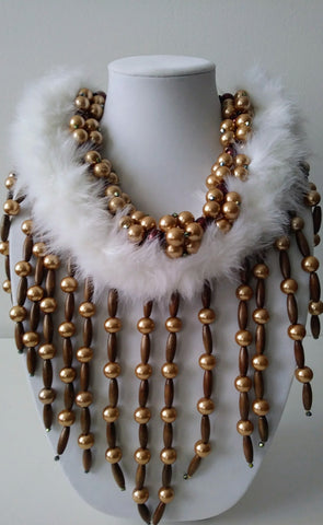 McKenzie Wood and Gold Bead w/ Fur Necklace