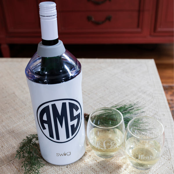 South of Hampton: Monogrammed Acrylic Stemless Wine Glasses + Wine Chiller Gift Set