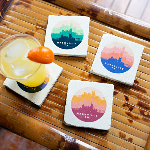 ARCHd: Nashville, TN Retro Skyline Marble Coasters - SB Shop