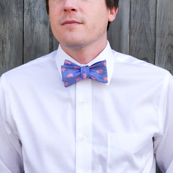 Collared Greens: Men's Bow Tie (Blue and Pink Pigs)