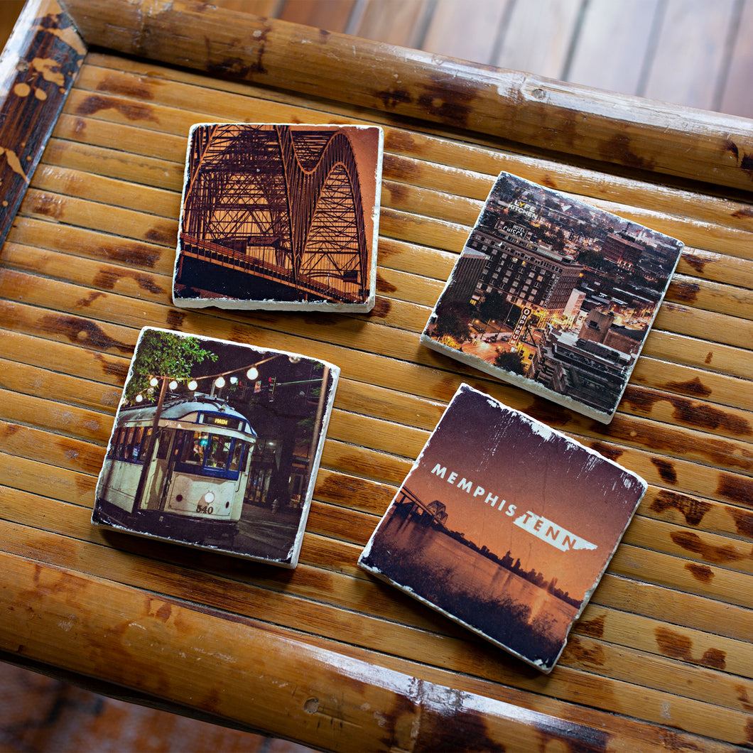 ARCHd: Memphis, TN Downtown Photography Marble Coasters - SB Shop