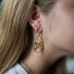 Amy Wells Designs: Vintage Gold Flower Teardrop Hoop Earrings