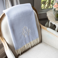 South of Hampton: Monogrammed Herringbone Throw